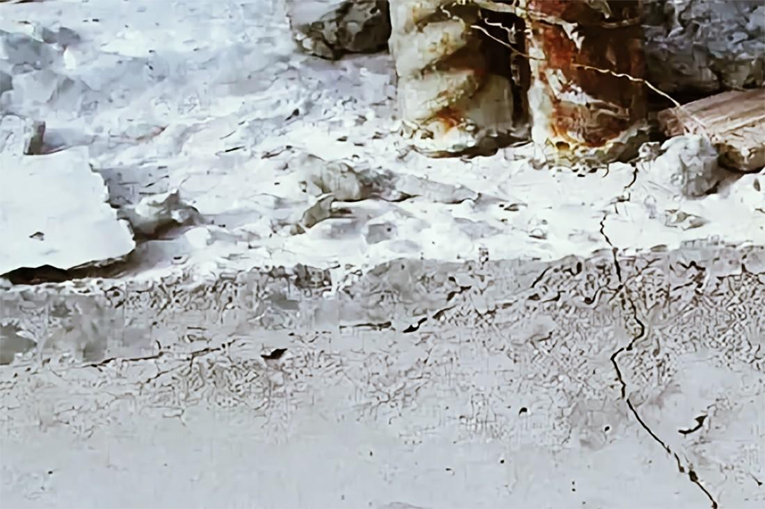 Трещина, образовавшаяся при перегреве бетона